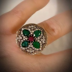 RUBY EMERALD ART RING Sz 8.5 Solid 925 Silver/Gold